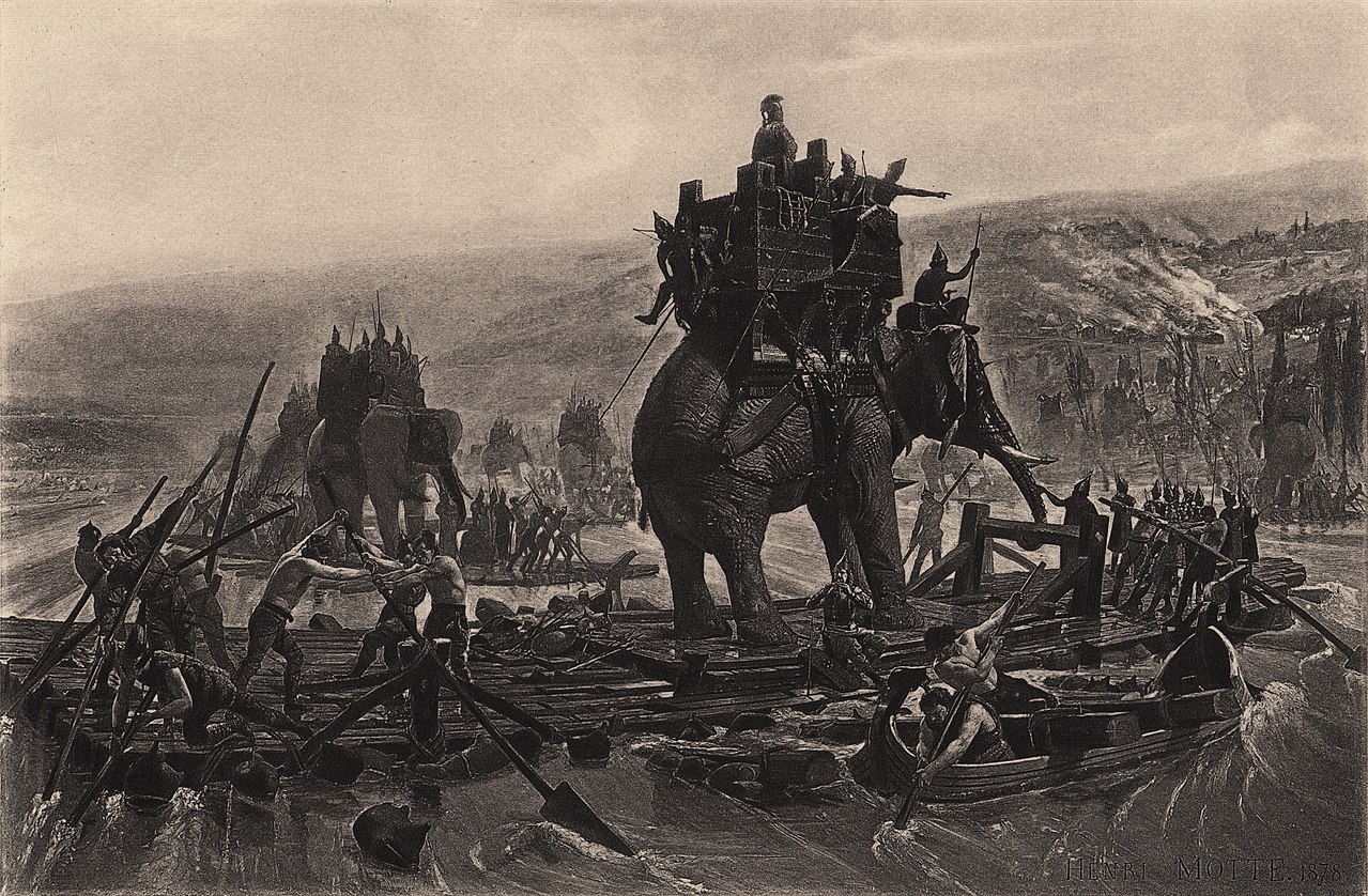 Hannibal Barca Crossing The Rhone: Human-Elephant Relationship